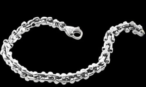 Platinum Shackle Design Mens Bracelet