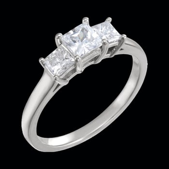 Platinum Three Stone Princess Engagement Ring