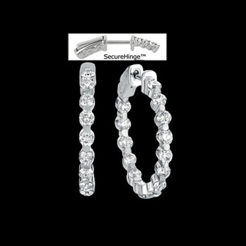 Diamond Platinum Hoop Earrings