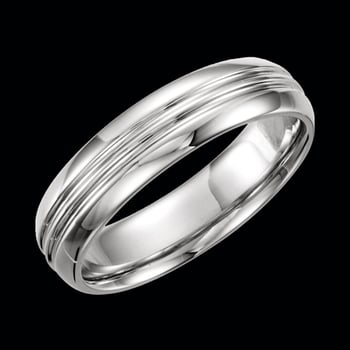 Platinum Grooved Wedding Band