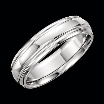 Platinum Grooved Border Wedding Band