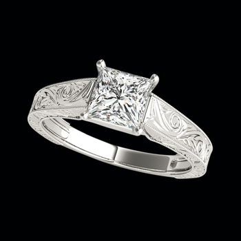 Platinum Square Diamond Engagement Ring