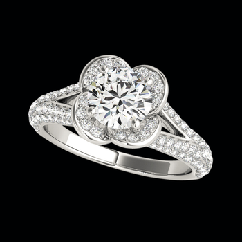 Platinum Floral Cradle Diamond Semi Mount