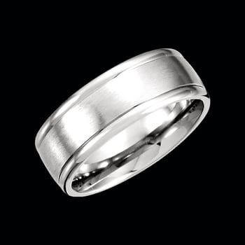 Platinum 8mm Wide Fancy Carved Band