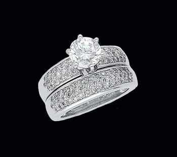 Pave Platinum Wedding Set
