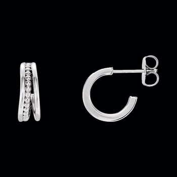 Platinum Split Hoop Earrings