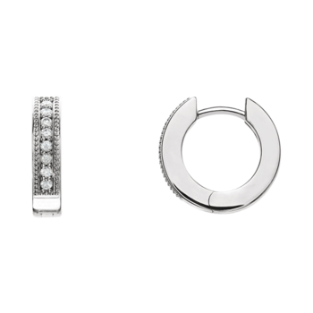 Platinum 1/6ctw Diamond Hoop Earrings