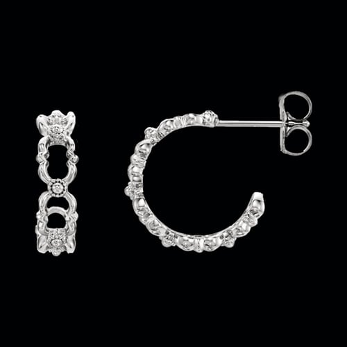 Platinum Quatrefoil Hoop Earrings