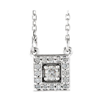 Platinum Diamond Square Halo Necklace