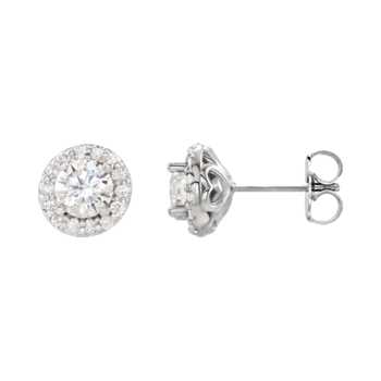 Platinum Diamond White Sapphire Earrings