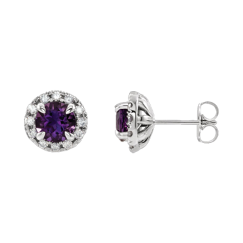 Platinum Diamond Halo Gemstone Earrings