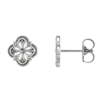 Vintage Inspired Platinum Clover Earrings