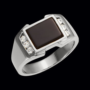 Platinum Onyx and Diamond Ring