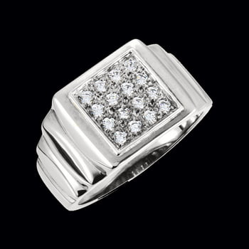 Platinum Men's Diamond Cluster Ring