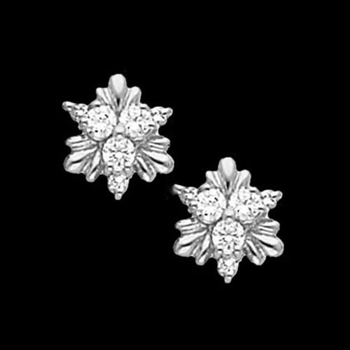 Platinum Diamond Trio Leaf Earrings