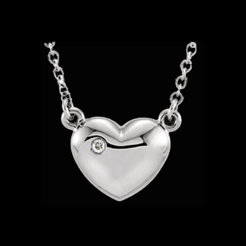 Platinum Heart with Diamond Accent