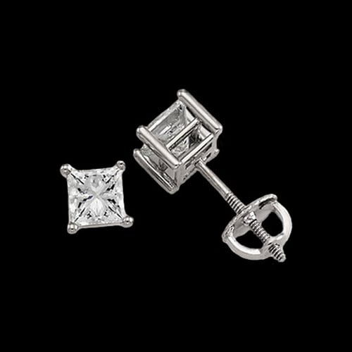 Platinum Princess Diamond Studs