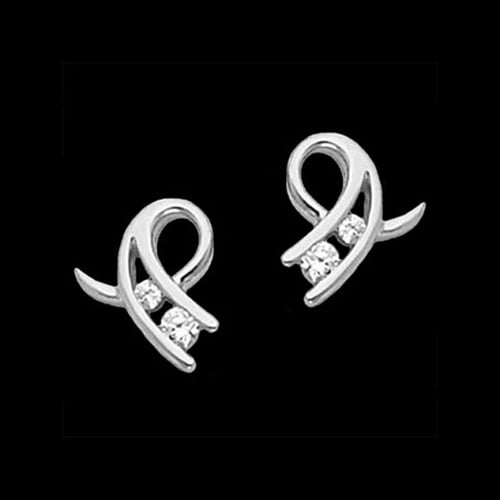 Platinum Diamond Curl Earring