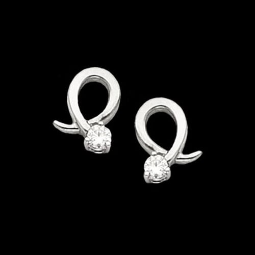 Platinum Diamond Curl Earrings