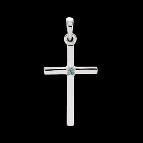 Platinum Gemstone Cross Pendant