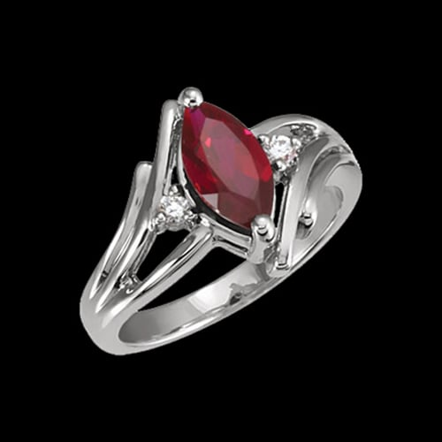 Platinum Ruby Marquise Ring