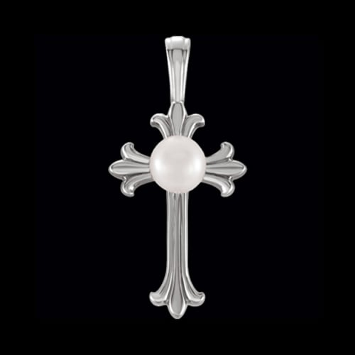 Platinum Pearl Center Cross