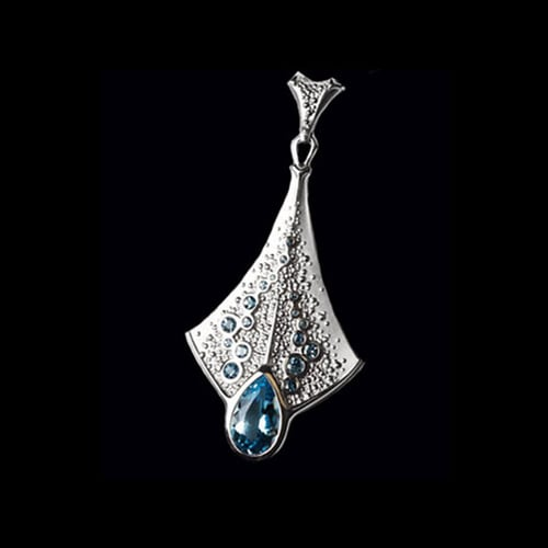 Nautical Platinum Gemstone Pendant