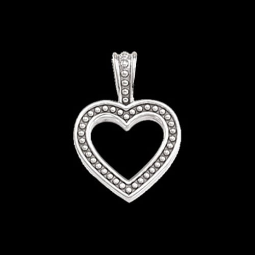 Beaded Platinum Heart Pendant