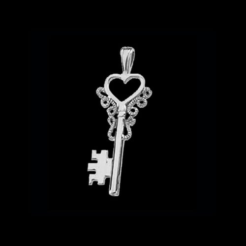 Platinum Heart Key Pendant