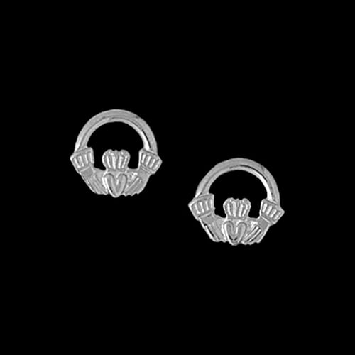 Platinum Claddagh Earrings