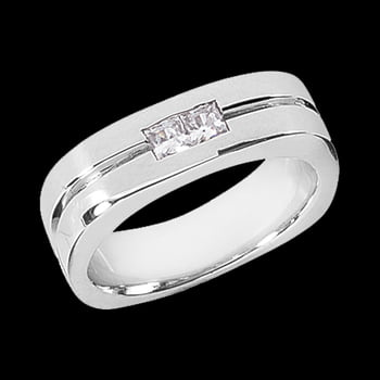 Platinum Channel Set Square Diamond Ring