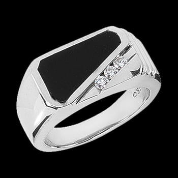 Platinum Onyx Diamond Men's Ring
