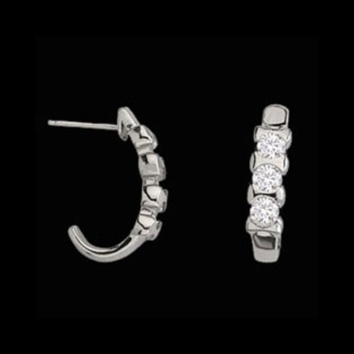 "Platinum Diamond ""J"" Hoops"