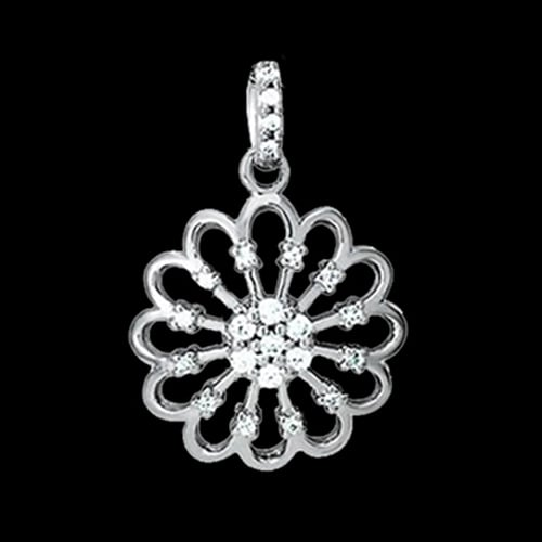 Platinum Fancy Round Diamond Pendant