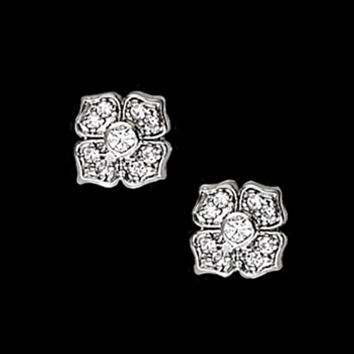 Lovely Platinum Diamond Flower Earrings