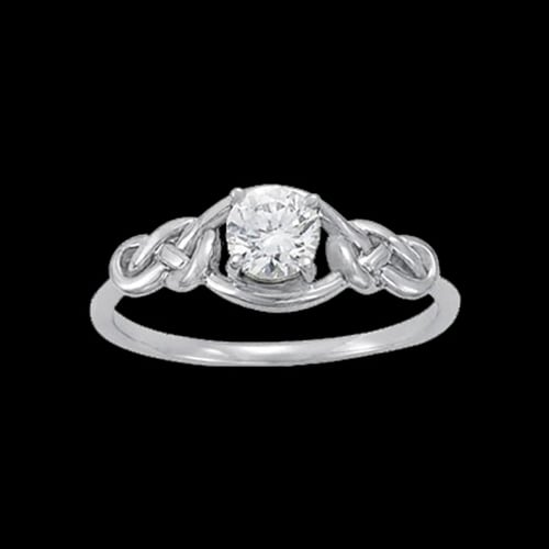 Platinum Solitaire Love Knot Ring