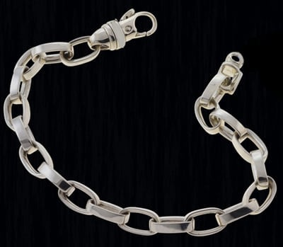 Platinum Ladies Oval Link Bracelet