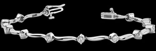 Platinum Wavy Diamond Bracelet