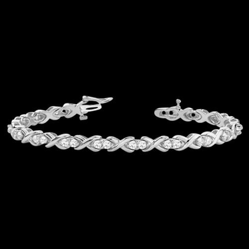 Platinum Hugs and Kisses Diamond Bracelet