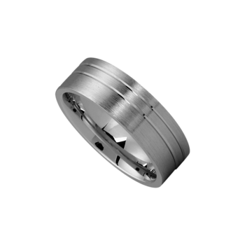 Platinum Brushed Dual Line Accent Band