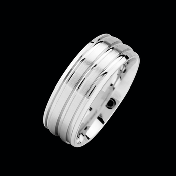 Platinum Satin Ridge Wedding Band