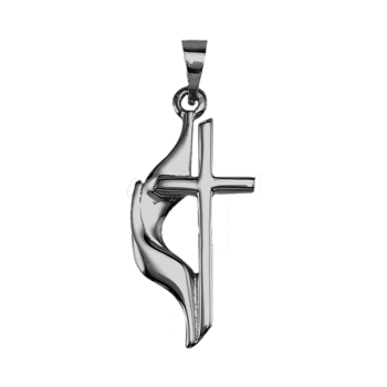 Platinum Large Methodist Cross Pendant