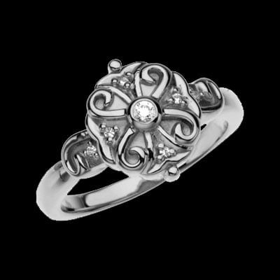 Platinum Scroll Design Ring
