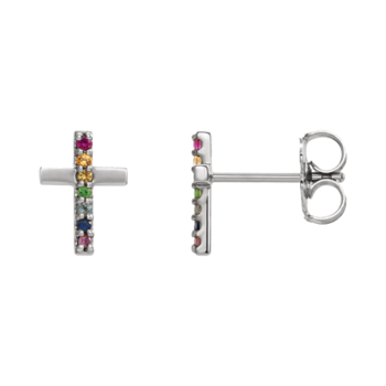 Platinum Dainty Gemstone Cross Earrings