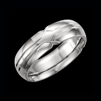 Platinum 6mm Grooved Wedding Band