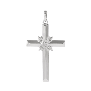 Platinum Floral Center Cross Pendant