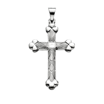 Platinum Textured & Trefoil Cross Pendant