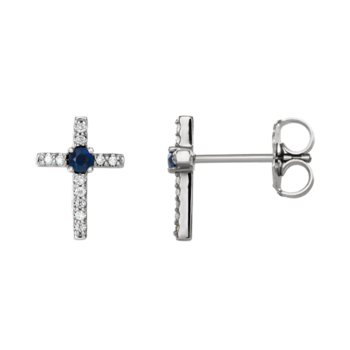 Platinum Gemstone Diamond Cross Earrings