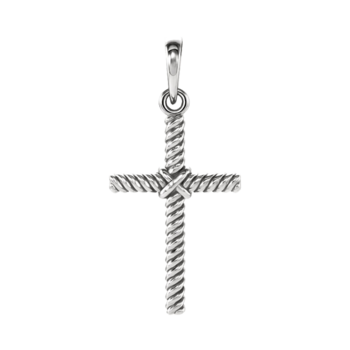 Platinum Rope Cross Pendant