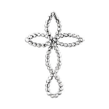 Platinum Beaded Cross Pendant